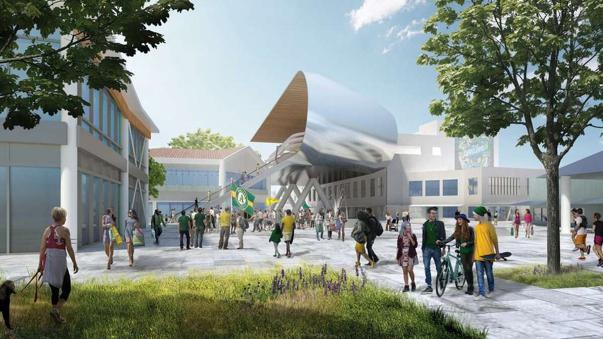 A rendering of a gondola station for the Oakland A's proposed line to carry fans from the 12th Street BART Station to their planned Howard Terminal stadium.