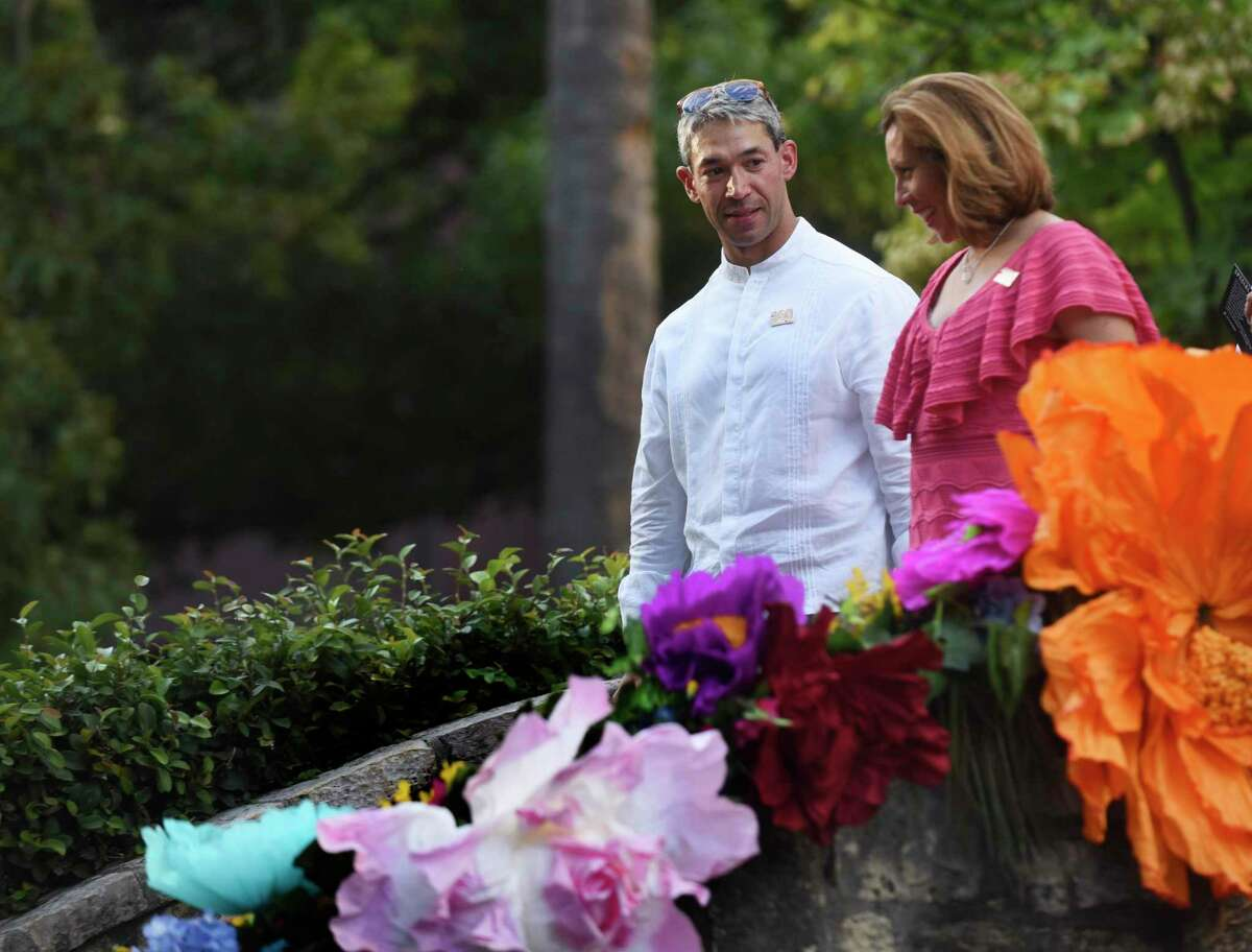 New San Antonio Mayor Ron Nirenberg walks with City Councilwoman Shirley Gonzalez after a ceremonial swearing-in ceremony for the new San Antonio City Council and mayor at the Arneson River Theatre on Wednesday, June 21, 2017.