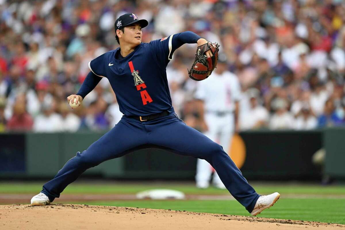 DENVER, COLORADO - JULY 13: Shohei Ohtani #17 of the Los Angeles Angels pitches in the first inning during the 91st MLB All-Star Game at Coors Field on July 13, 2021 in Denver, Colorado. (Photo by Dustin Bradford/Getty Images)