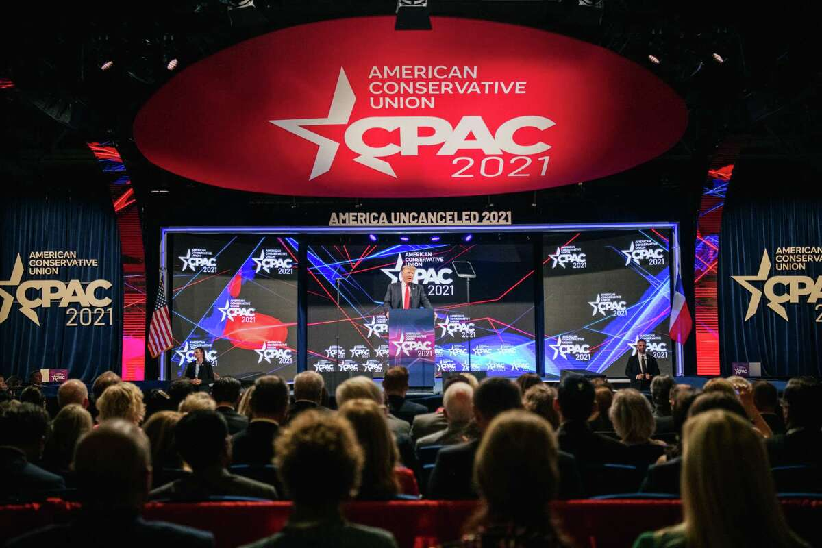 Former President Donald Trump speaks during the Conservative Political Action Conference in Dallas on July 11. Trump downplayed the Jan. 6 riot and spun tales of a rigged election