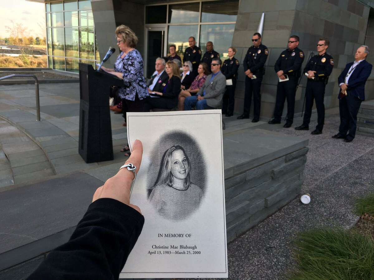 Grand Prairie Police Department shared this image on Twitter in October 2017 of Debra Blubaugh sharing the story of her daughter Christine, who was murdered by an ex-boyfriend when she was 16. Debra Blubaugh shares has been trying to get domestic violence education legislation passed.
