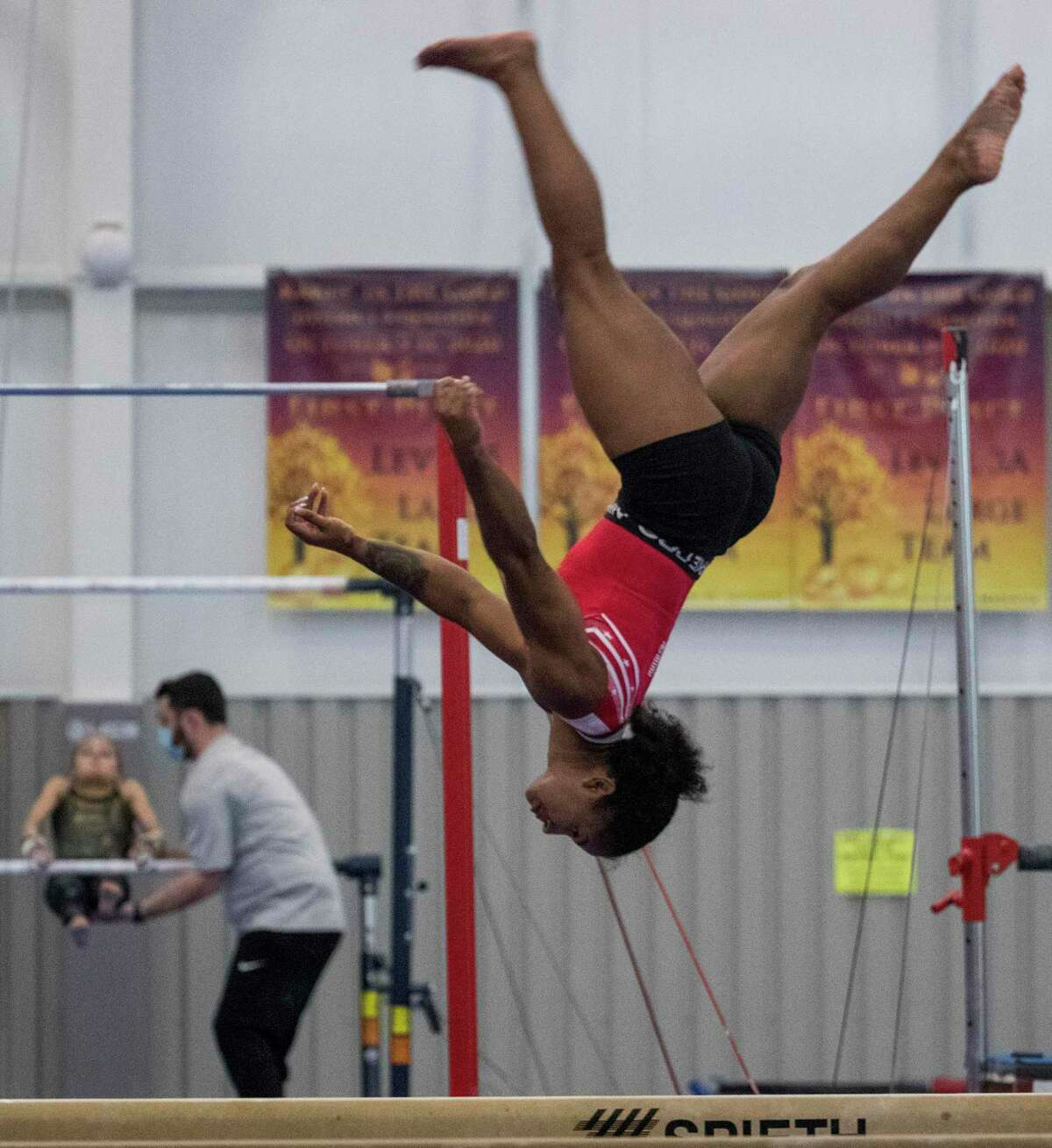 Olympic gymnast Jordan Chiles works on the balance beam as she prepares for the upcoming Tokyo Olympics at World Champions Centre Tuesday, July 6, 2021 in Spring.