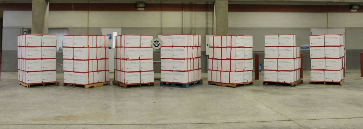 U.S. Customs and Border Protection officers seized these 3,740.36 pounds of methamphetamine from a trailer at the Colombia Solidarity International Bridge on July 14. The contraband had an estimated street value of $74,806,487. This was one of four seizures recently reported at local international bridges.