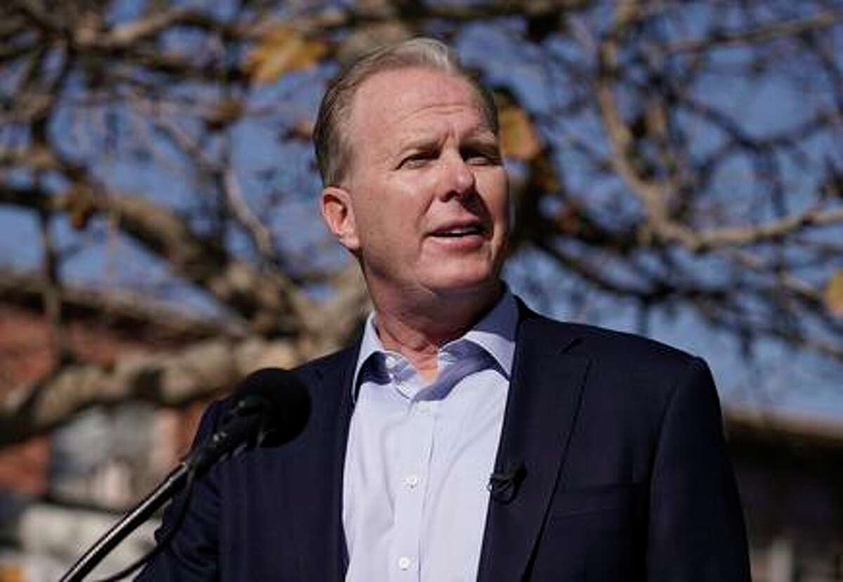 Republican gubernatorial candidate Kevin Faulconer, the former mayor of San Diego, speaks during a news conference on Feb. 2, 2021 in the San Pedro section of Los Angeles.