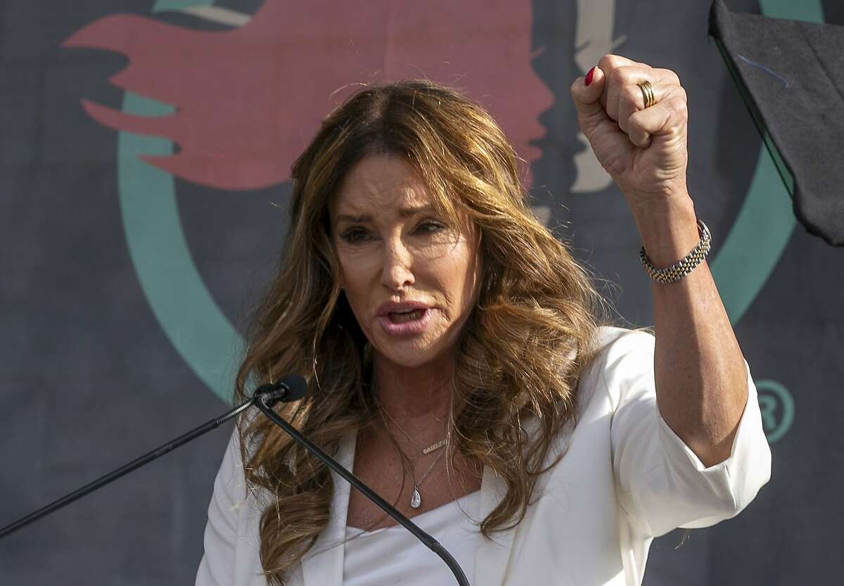 Caitlyn Jenner speaks at the fourth Women's March in Los Angeles on Jan. 18, 2020. Jenner is one of the Republican candidates for California governor in the recall election to be held on Sept. 14, 2021.