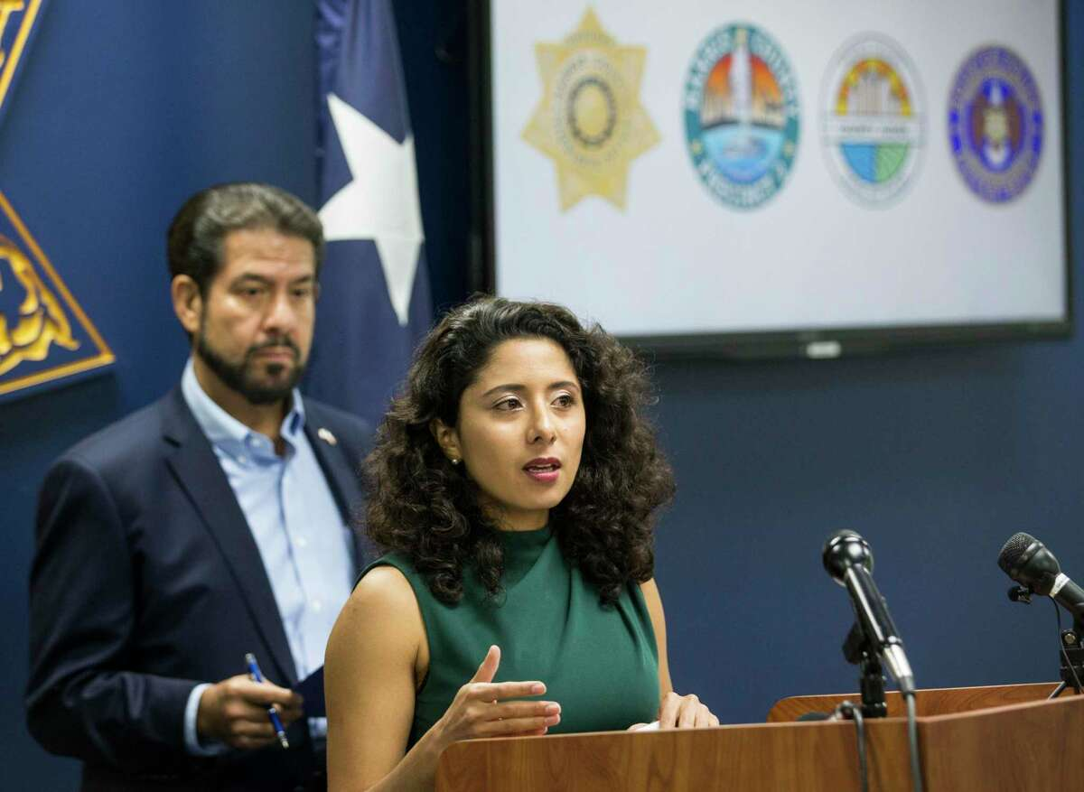 County Judge Lina Hidalgo speaks during a joint press conference to discuss smart cost-effective investments in public safety Monday, June 28, 2021 in Houston. Discussed, were two upcoming Commissioners Court items that would bring up to an additional $14.8 million for public safety, as well as the importance of collaboration.