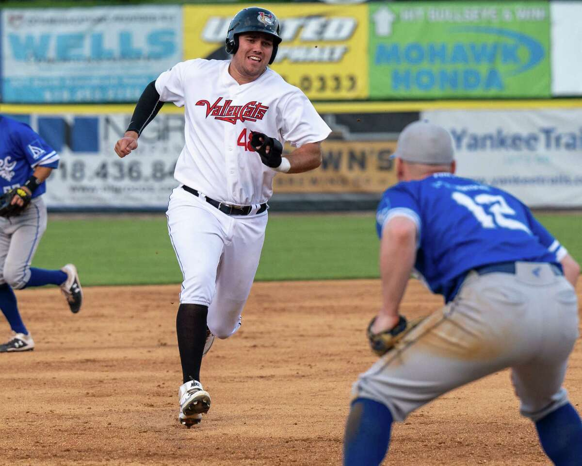 Tri-City ValleyCats first baseman Brad Zonica comes into third base during a game against Equipe Quebec at Joseph L. Bruno Stadium on the Hudson Valley Community College campus in Troy, NY, on Friday, July 18, 2021. (Jim Franco/Special to the Times Union)