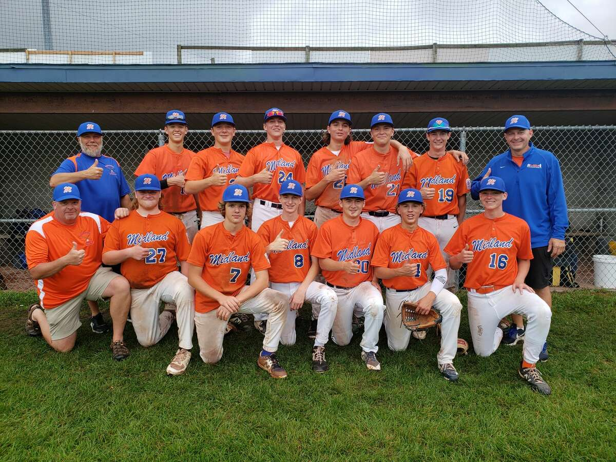 Members of Midland's Senior League all-star team which is competing in the state tournament in Niles are (front, from left) assistant coach Chris Haney, Adam Brenske, Ben Haney, Nick Bond, John Jenkins, Tommy Kroll, Aidan O'Malley; and (back, from left) manager Joe Brenske, Jacob Ahn, Tom Bacigalupo, Hudson Gerstacker, Owen Wendt, Tyler Bacigalupo, Zack Parker, and assistant coach Chris Bond.