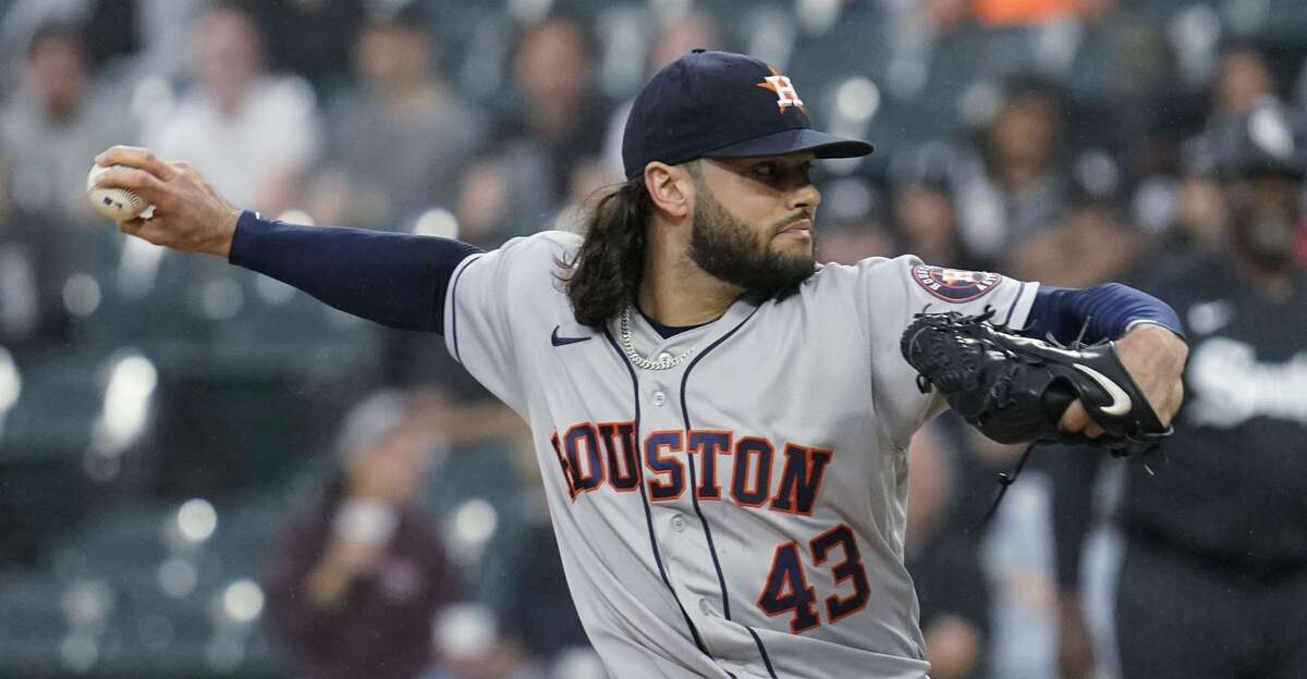 Houston Astros starting pitcher Lance McCullers Jr. throws to a Chicago White Sox batter during the first inning of a baseball game in Chicago, Friday, July 16, 2021. (AP Photo/Nam Y. Huh)