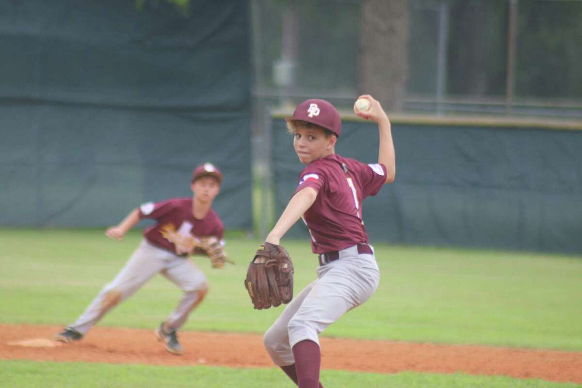 Deer Park's Braylen Jackson, making his pitching debut, works on a Delwood batter Thursday afternoon. Jackson came within an out of throwing a five-inning no-hitter.