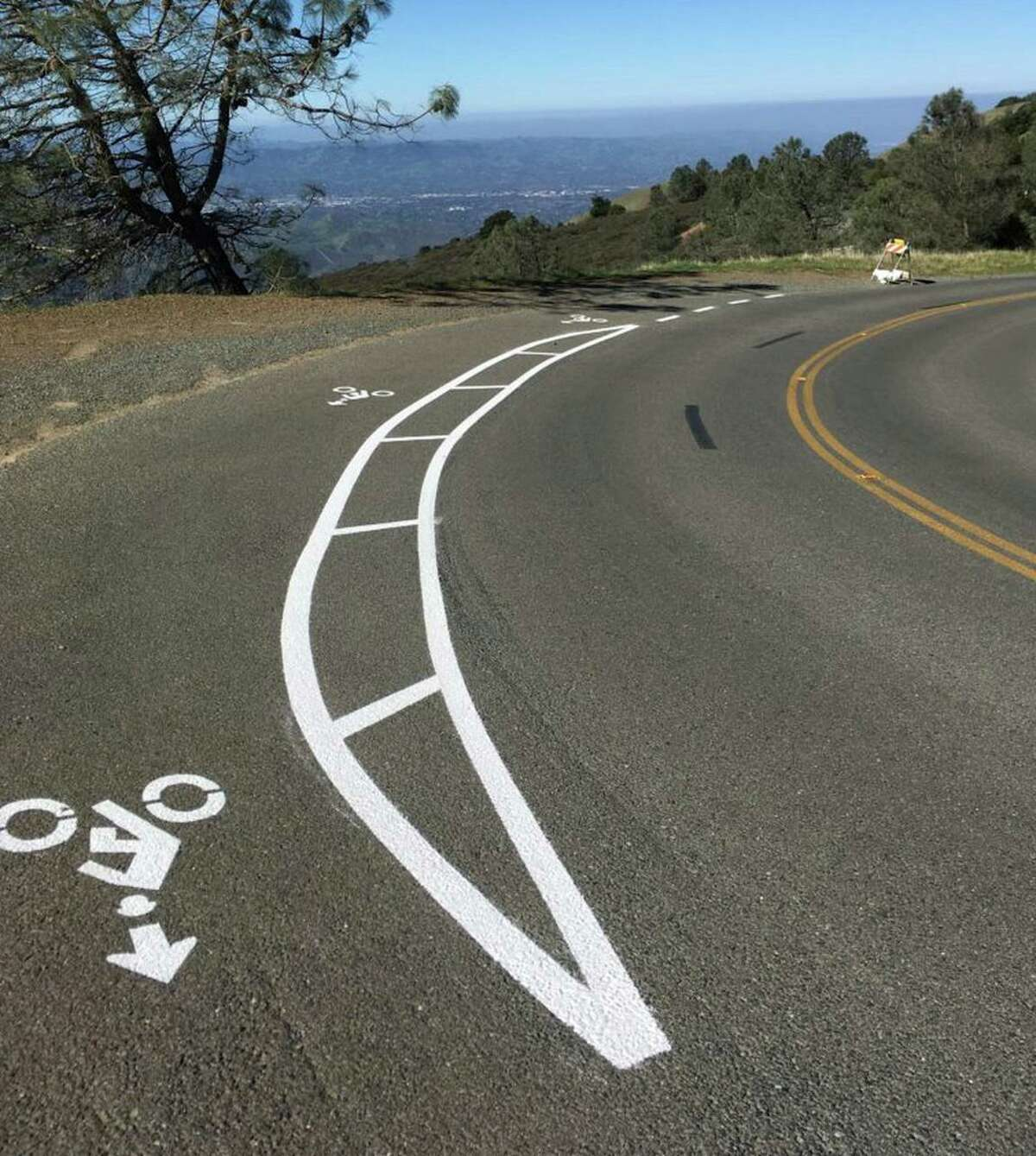 A prototype of one of the first bicycle turnouts on the road to the Mount Diablo Summit to allow cyclists grinding uphill a safe way for vehicles to pass.