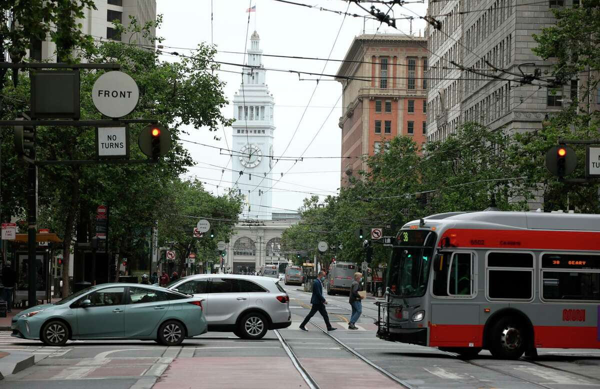 Market Street begins its route as San Francisco's main street at the Ferry Building at the Embarcadero.