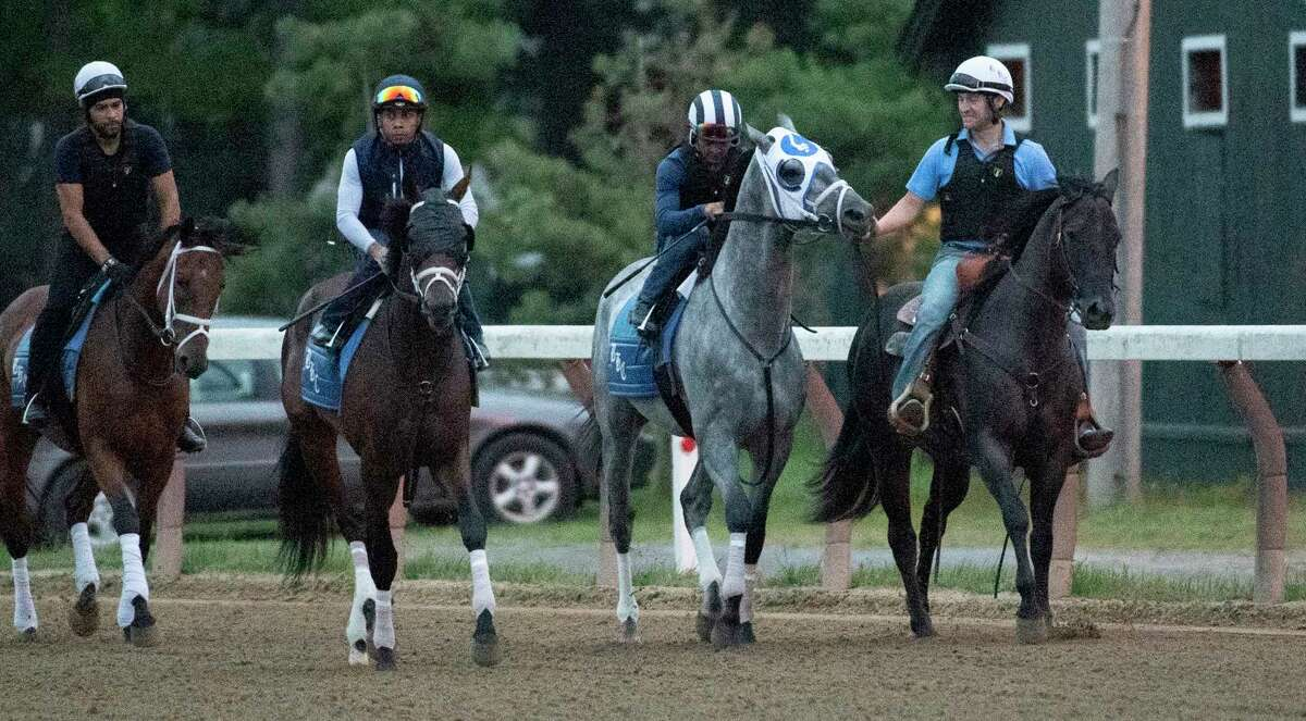 Essential Quality worked on the main track under jockey Luis Saez in company with Bingo John and jockey Manny Franco at the Saratoga Race Course Saturday July 17, 2021 in Saratoga Springs, N.Y. in preparation for the $600,000 Jim Dandy which will be contested on July 31. Photo Special to the Times Union by Skip Dickstein
