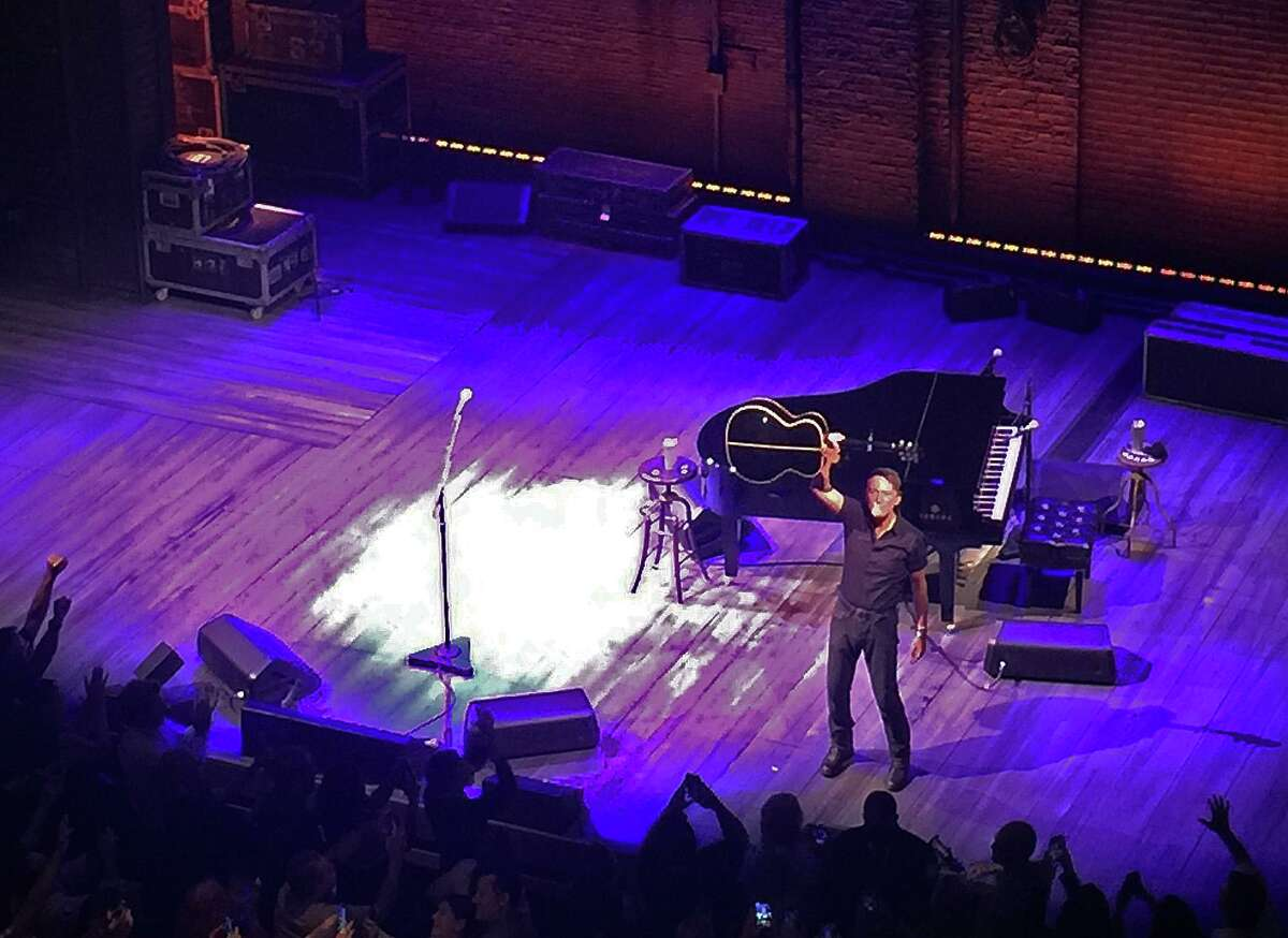 """Bruce Springsteen at the conclusion of the July 13, 2021 performance of """"Springsteen on Broadway"""" at the St. James Theatre in New York."""