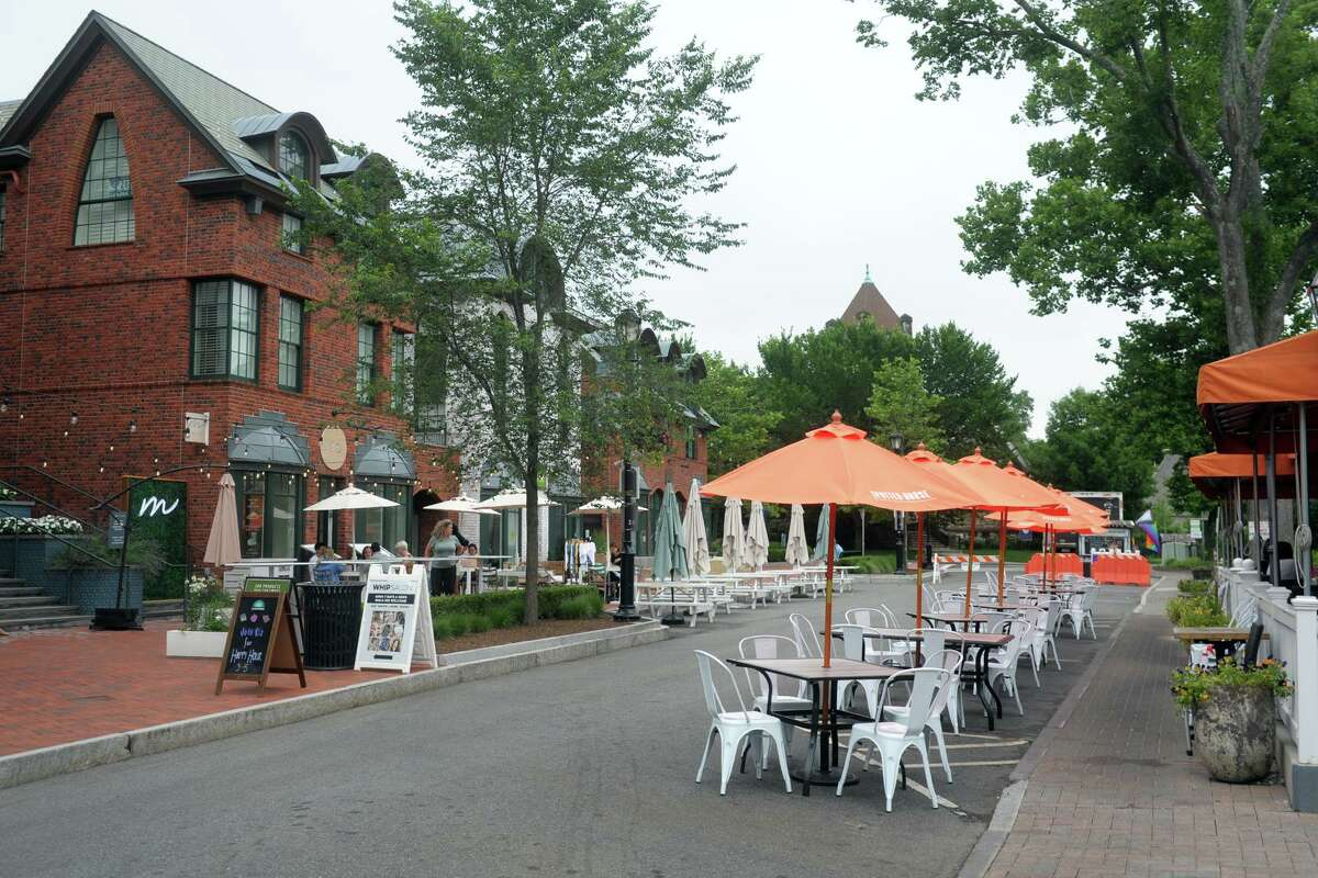 Church Lane is closed to motor vehicles and open for dining, in Westport, Conn. July 13, 2021.