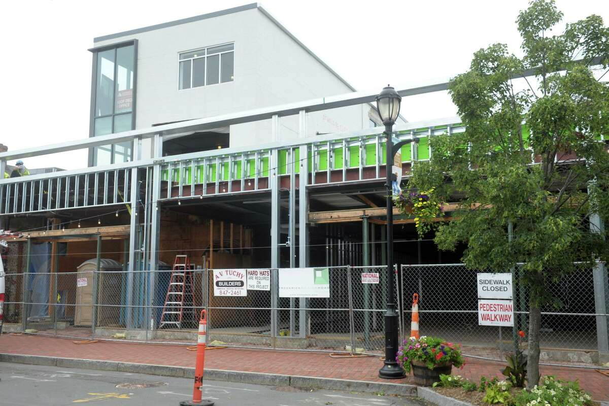 Construction and renovation on Main St., in Westport, Conn. July 13, 2021.