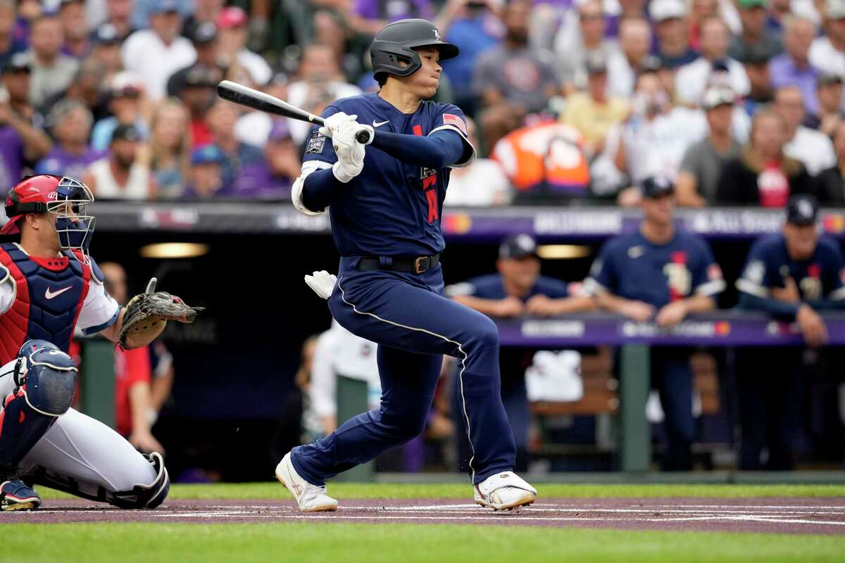 American League's Shohei Ohtani, of the Los Angeles Angeles, grounds out during the first inning of the MLB All-Star baseball game, Tuesday, July 13, 2021, in Denver. (AP Photo/David Zalubowski)