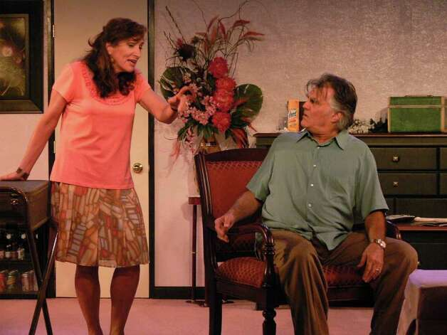 Paul D?Amato and Marina Re in a scene from the Lake George Dinner Theatre?s acclaimed production of OUR SON?S WEDDING, continuing thru Oct. 14.  (Lake George Dinner Theater) Photo: Picasa 3.0
