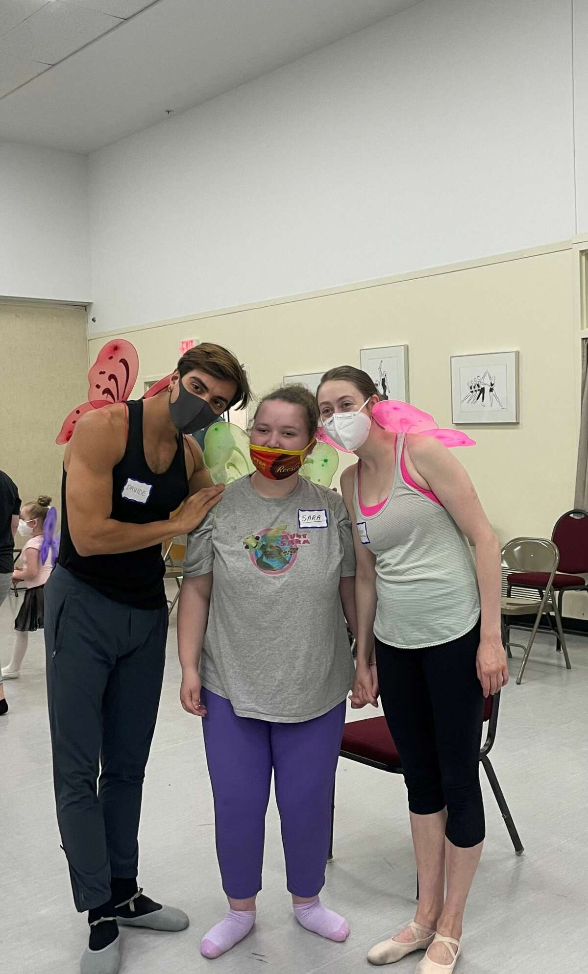 Sara Kachel with her instructors, New York City Ballet dancers Meaghan Dutton-O'Hara and Davide Riccardo at a workshop on Saturday, July 17, 2021, at the National Museum of Dance School of the Arts in Saratoga Springs, N.Y.