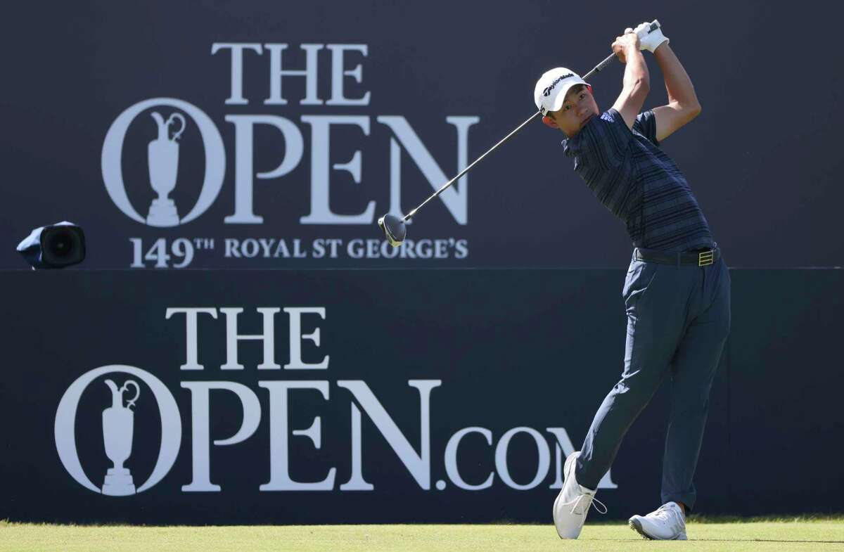 United States' Collin Morikawa plays his tee shot on the 1st during the third round of the British Open Golf Championship at Royal St George's golf course Sandwich, England, Saturday, July 17, 2021. (AP Photo/Ian Walton)