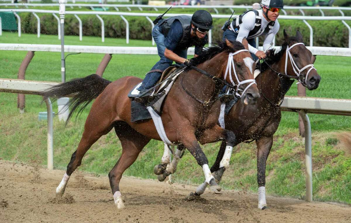 Malathaat trained by Todd Pletcher and ridden this morning by Hall of Fame jockey John Velazquez works over the main track at the Saratoga Race Course in company with Jaajel Saturday July 17, 2021 in Saratoga Springs, N.Y. in preparation for her appearance in the Coaching Club American Oaks(G1) July 24th at the Spa. Photo Special to the Times Union by Skip Dickstein