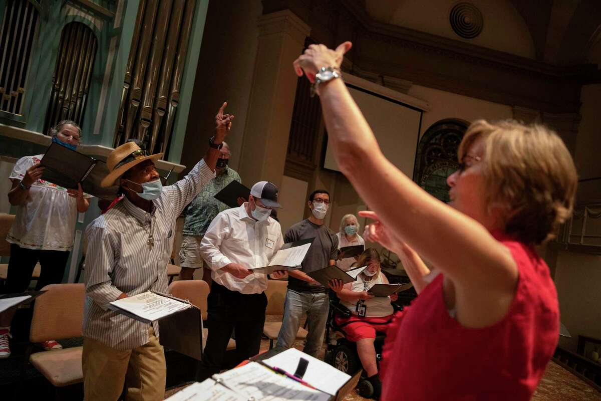 The Alamo Street Choir rehearses Wednesday evenings at Travis Park Church with director Tracy Bjella Powers.