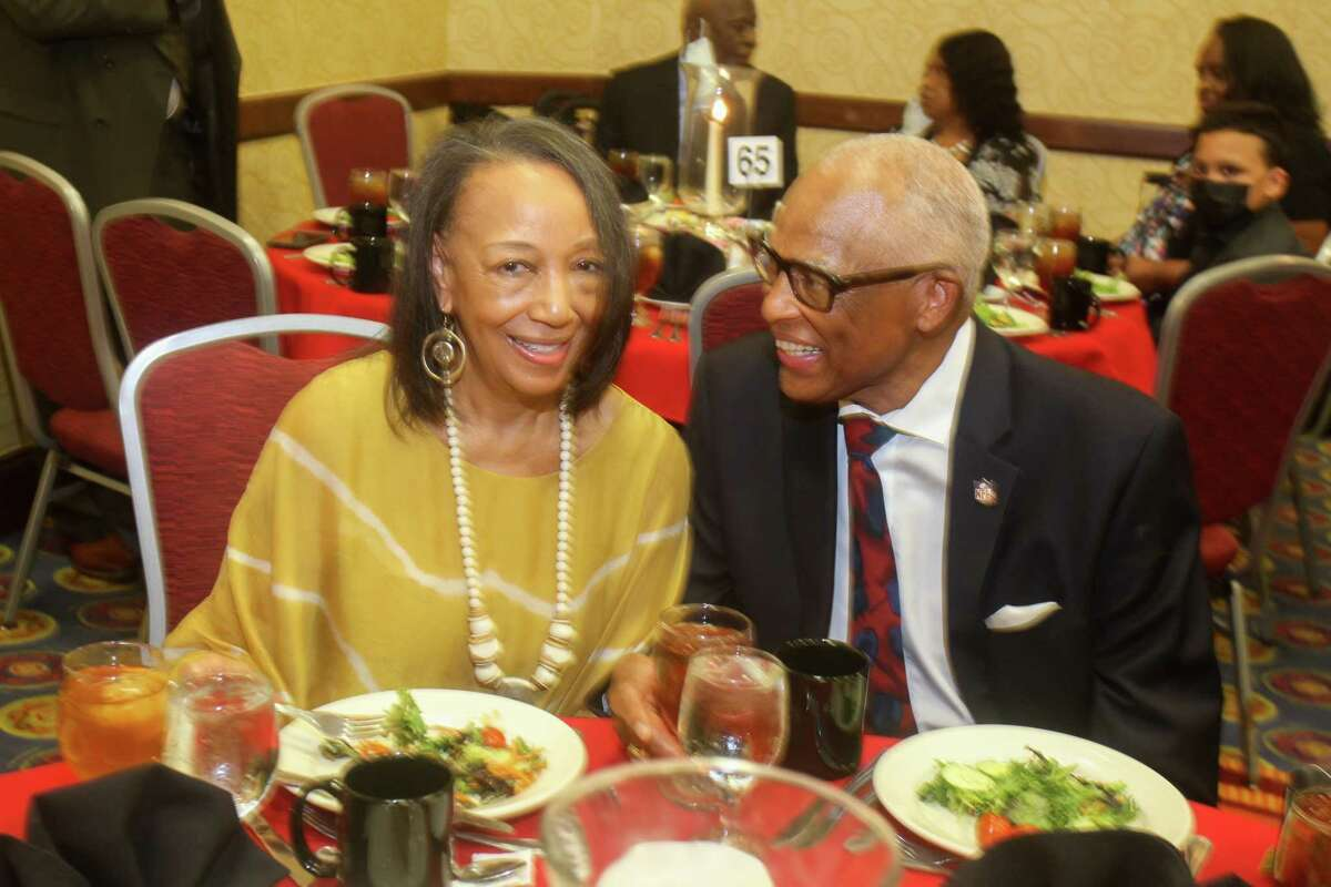 Doris and Leroy Mitchell at the Prairie View Interscholastic League Coaches Association's annual Hall of Fame banquet at the Houston Marriott South at Hobby Airport in Houston on July 17, 2021.