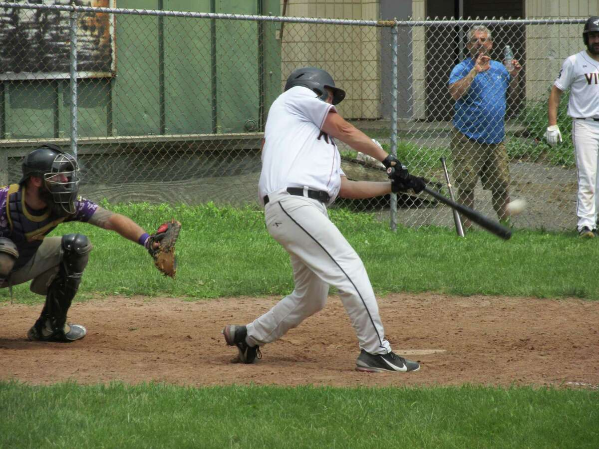 Terryville Black Sox veteran Billy Armstrong stroked the winning hit in a 10-inning Tri-State Baseball League game against the Tri-Town Trojans Saturday afternoon at Old Terryville High School.