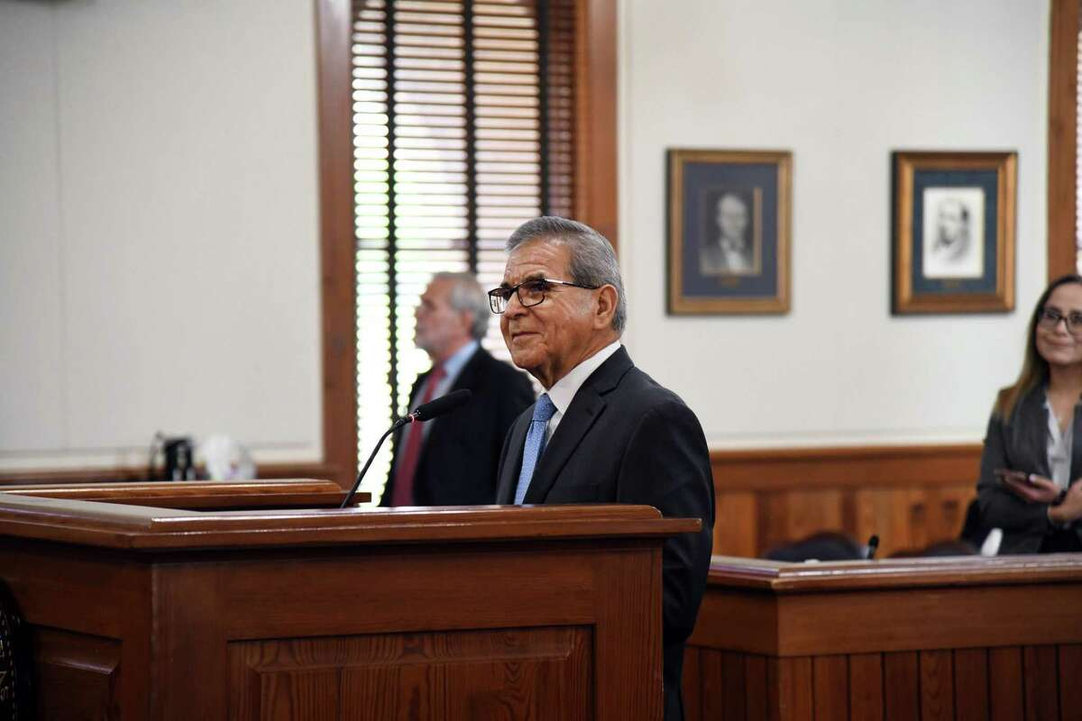 Recognized for his 35 year tenure as Laredo Chamber of Commerce CEO, Miguel Conchas was honored by county commissioners on Monday, July 12, 2021.