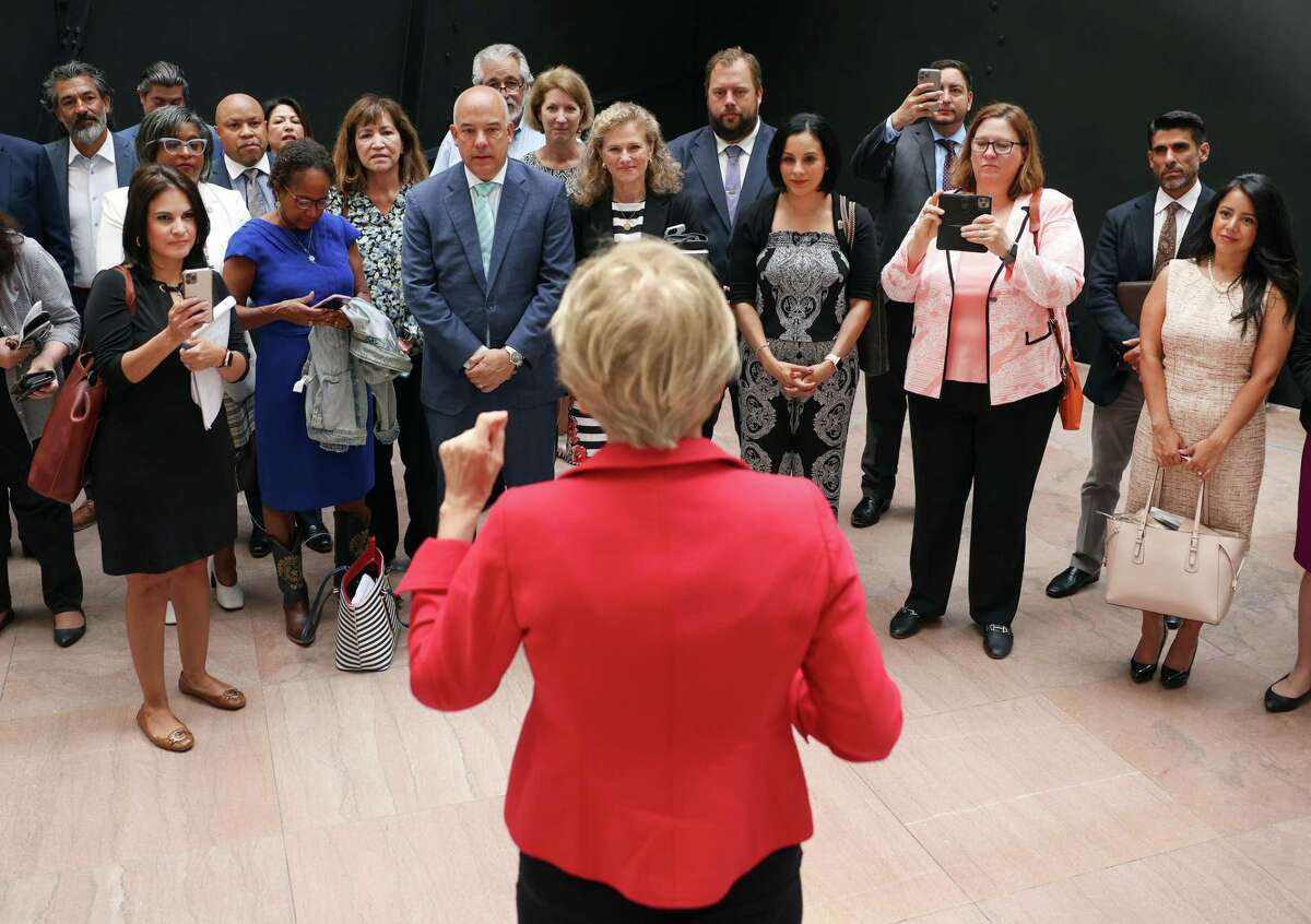 U.S. Sen. Elizabeth Warren, D-Mass., addresses Texas state House Democrats as they meet with senators Wednesday on Capitol Hill.