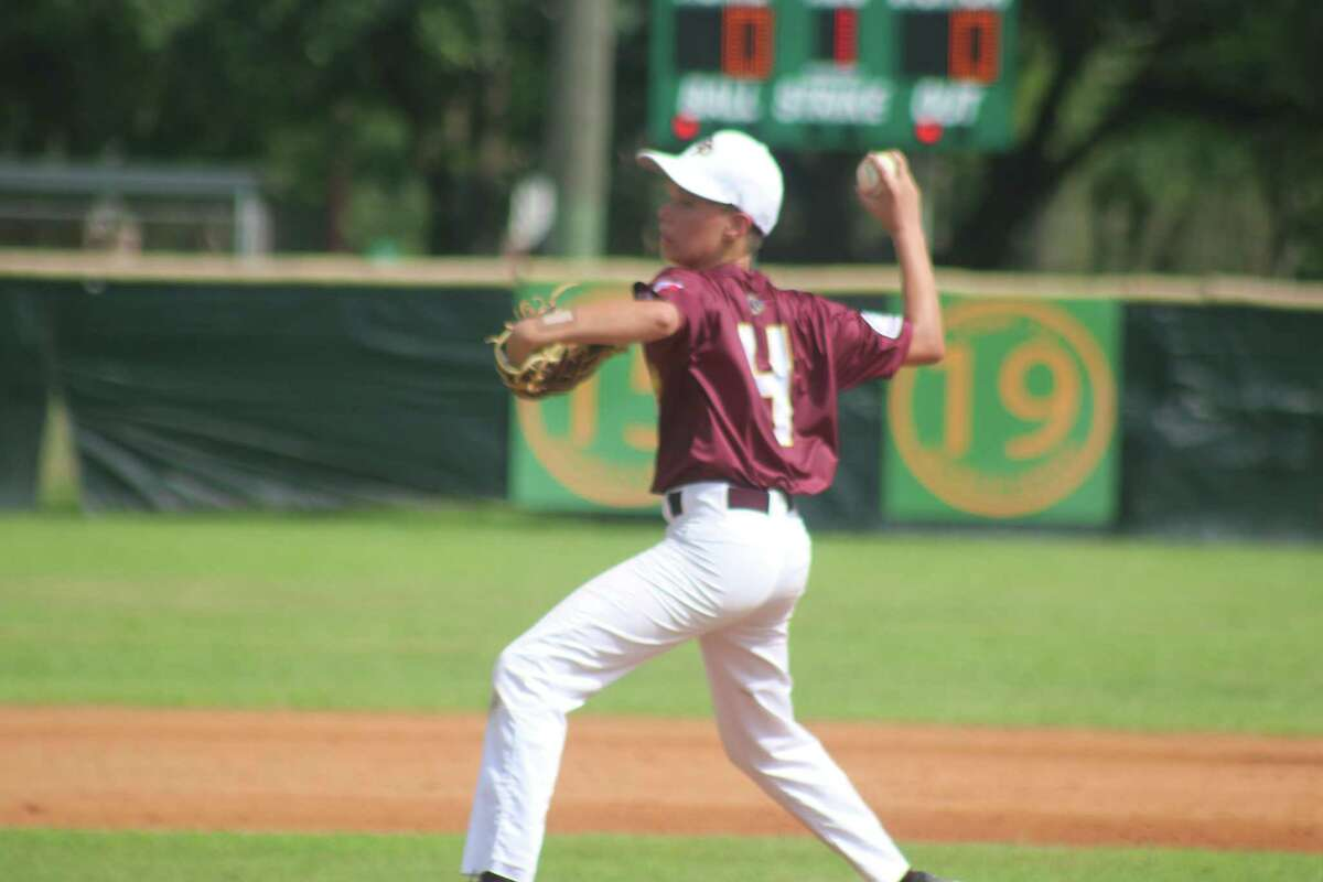 Deer Park 13s pitcher Sean Dupuis works on an Alamo City batter Saturday. Although the losing pitcher, Dupuis had Deer Park's only highlight when he raced off the mound, caught a bunted ball a foot off the ground then threw to first to double off a runner.