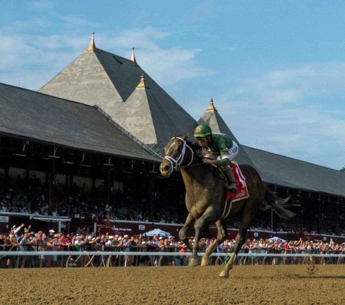 Wit ridden by Irad Ortiz Jr. wins The Sanford Stakes at the Saratoga Race Course Saturday July 17, 2021 in Saratoga Springs, N.Y. Photo Special to the Times Union by Tim Lanahan/ Skip Dickstein Photography