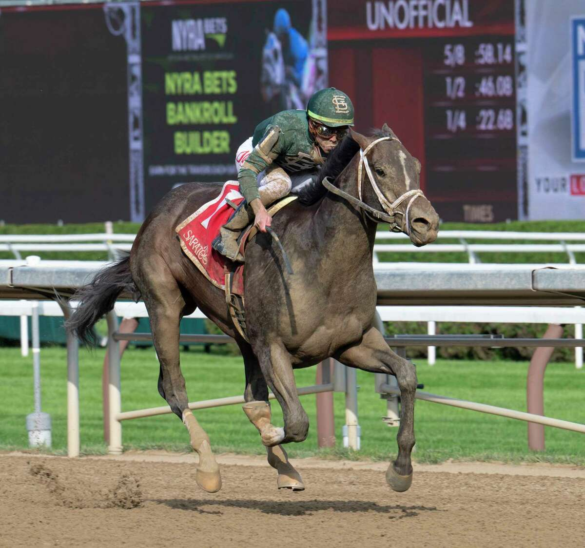 Wit, ridden by Irad Ortiz Jr., wins the Sanford Stakes at Saratoga Race Course on Saturday, July 17, 2021, in Saratoga Springs.