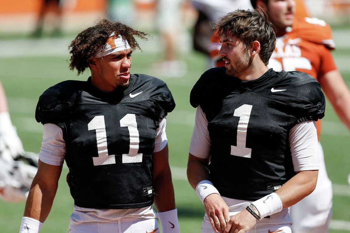 Casey Thompson, left, has thrown only 29 passes in his career but he had a breakout game in the Alamo Bowl victory over Colorado. Hudson Card was the No. 2 dual-threat QB in the 2020 class.