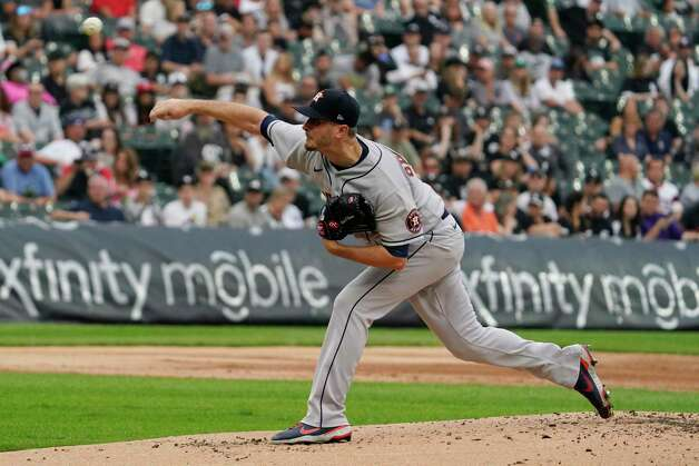 Houston Astros starting pitcher Jake Odorizzi throws against the Chicago White Sox during the first inning of a baseball game in Chicago, Saturday, July 17, 2021. (AP Photo/Nam Y. Huh) Photo: Nam Y. Huh, Associated Press / Copyright 2021 The Associated Press. All rights reserved.