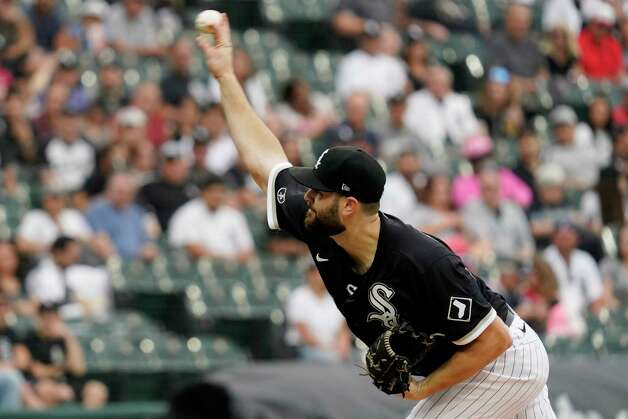 Chicago White Sox starting pitcher Lucas Giolito throws to a Houston Astros batter during the first inning of a baseball game in Chicago, Saturday, July 17, 2021. (AP Photo/Nam Y. Huh) Photo: Nam Y. Huh, Associated Press / Copyright 2021 The Associated Press. All rights reserved.