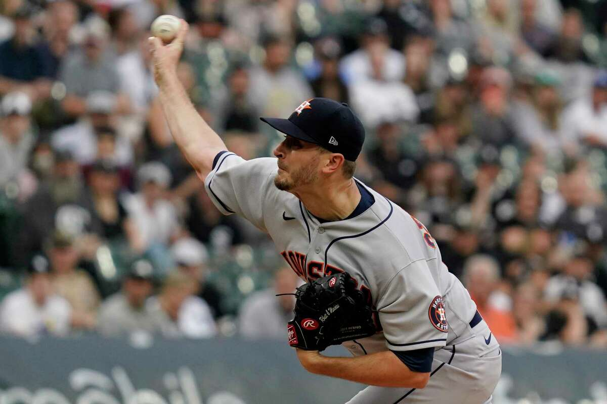 Houston Astros starting pitcher Jake Odorizzi throws to a Chicago White Sox batter during the first inning of a baseball game in Chicago, Saturday, July 17, 2021. (AP Photo/Nam Y. Huh)