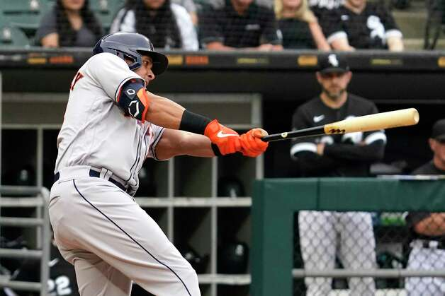 Houston Astros' Michael Brantley hits a double during the first inning of the team's baseball game against the Chicago White Sox in Chicago, Saturday, July 17, 2021. (AP Photo/Nam Y. Huh) Photo: Nam Y. Huh, Associated Press / Copyright 2021 The Associated Press. All rights reserved.