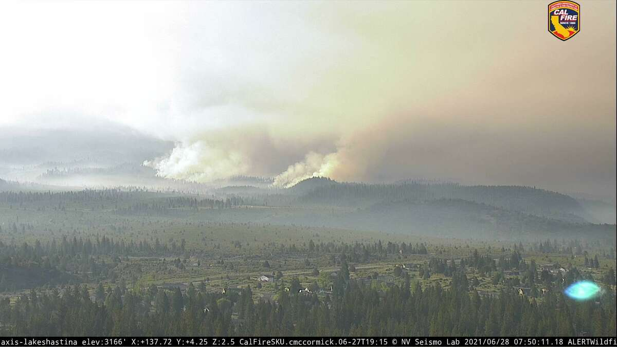 An image of the Lava Fire burning roughly 3 1/2 miles northeast of Weed, Calif.