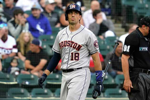 Houston Astros' Jason Castro looks up after striking out swinging during the third inning of the team's baseball game against the Chicago White Sox in Chicago, Saturday, July 17, 2021. (AP Photo/Nam Y. Huh) Photo: Nam Y. Huh, Associated Press / Copyright 2021 The Associated Press. All rights reserved.