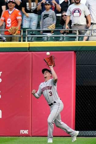 Houston Astros center fielder Myles Straw catches a fly ball hit by Chicago White Sox's Andrew Vaughn during the second inning of a baseball game in Chicago, Saturday, July 17, 2021. (AP Photo/Nam Y. Huh) Photo: Nam Y. Huh, Associated Press / Copyright 2021 The Associated Press. All rights reserved.