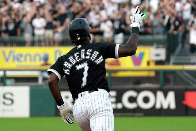 Chicago White Sox's Tim Anderson celebrates as he rounds the bases after hitting a solo home run during the third inning of a baseball game against the Houston Astros in Chicago, Saturday, July 17, 2021. (AP Photo/Nam Y. Huh) Photo: Nam Y. Huh, Associated Press / Copyright 2021 The Associated Press. All rights reserved.