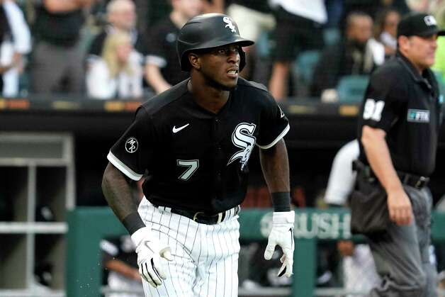 Chicago White Sox's Tim Anderson watches his solo home run during the third inning of a baseball game against the Houston Astros in Chicago, Saturday, July 17, 2021. (AP Photo/Nam Y. Huh) Photo: Nam Y. Huh, Associated Press / Copyright 2021 The Associated Press. All rights reserved.