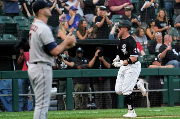 Chicago White Sox's Zack Collins runs the bases after hitting a solo home run during the third inning of the team's baseball game against the Houston Astros in Chicago, Saturday, July 17, 2021. (AP Photo/Nam Y. Huh) Photo: Nam Y. Huh, Associated Press / Copyright 2021 The Associated Press. All rights reserved.