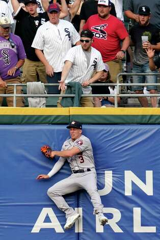 Houston Astros center fielder Myles Straw can't make the play on a solo home run hit by Chicago White Sox's Zack Collins during the third inning of a baseball game in Chicago, Saturday, July 17, 2021. (AP Photo/Nam Y. Huh) Photo: Nam Y. Huh, Associated Press / Copyright 2021 The Associated Press. All rights reserved.