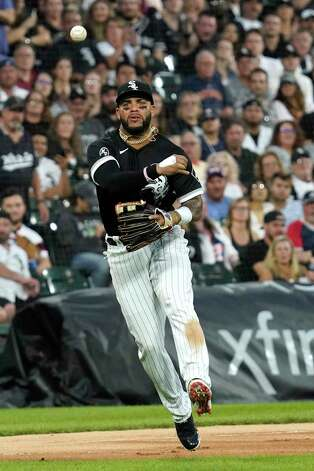 Chicago White Sox third baseman Yoan Moncada throws out Houston Astros' Jose Altuve at first during the sixth inning of a baseball game in Chicago, Saturday, July 17, 2021. (AP Photo/Nam Y. Huh) Photo: Nam Y. Huh, Associated Press / Copyright 2021 The Associated Press. All rights reserved.