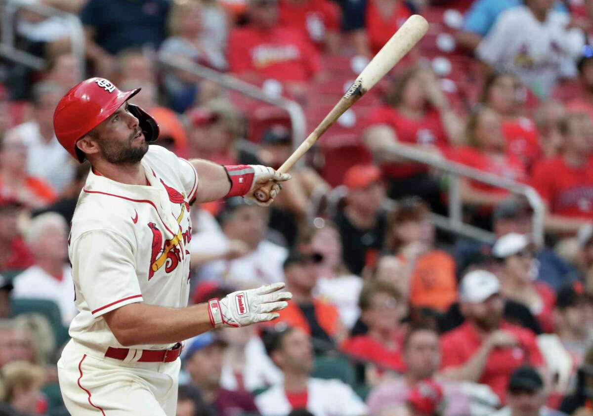 St. Louis Cardinals' Paul Goldschmidt watches his two-run home run in the sixth inning of the team's baseball game against the San Francisco Giants, Saturday, July 17, 2021, in St. Louis. (AP Photo/Tom Gannam)