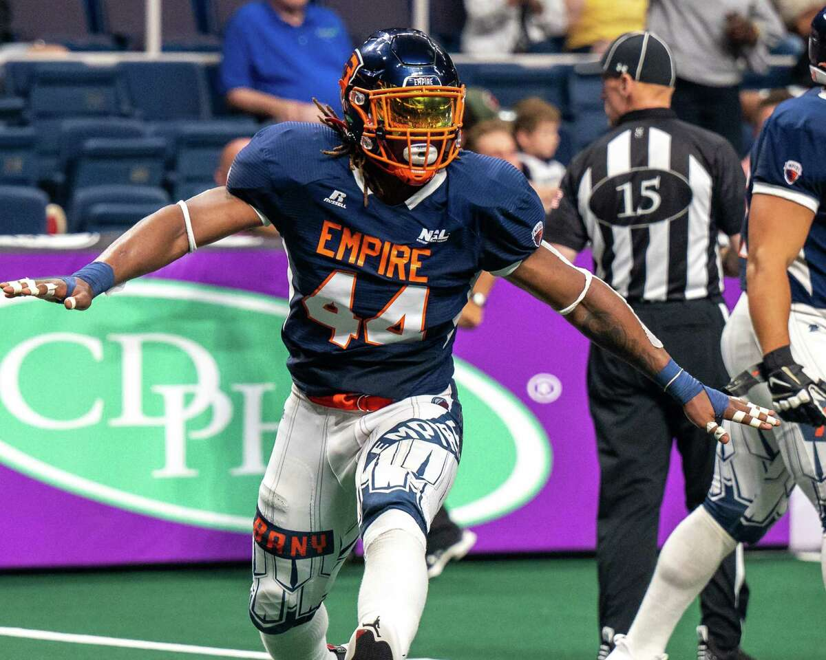 Albany Empire linebacker Patrick Macon celebrates after making a sack during a National Arena League game against the Jersey Flight at the Times Union Center, in Albany, NY, on Saturday, July 17, 2021.