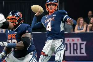 Albany Empire quarterback Tommy Grady throws a pass during a National Arena League game against the Jersey Flight at the Times Union Center, in Albany, NY, on Saturday, July 17, 2021. (Jim Franco/Special to the Times Union)