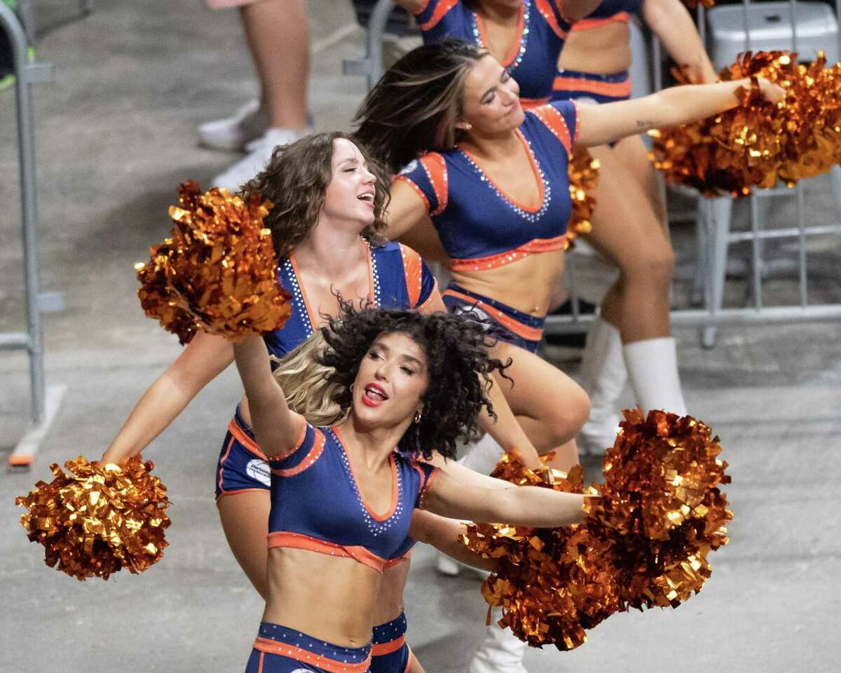 The Albany Empire cheerleaders cheer for their team during a National Arena League game against the Jersey Flight at the Times Union Center, in Albany, NY, on Saturday, July 17, 2021. (Jim Franco/Special to the Times Union)